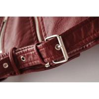 Бордовая кожаная куртка женская KR003-4