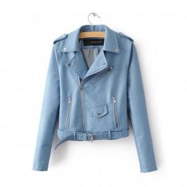 Кожаная куртка голубая женская KR003-1