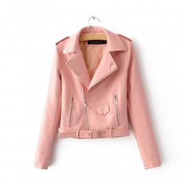 Кожаная куртка женская розовая KR003-3