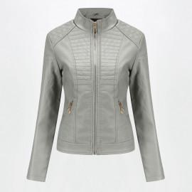 Серая кожаная куртка женская KR002-2