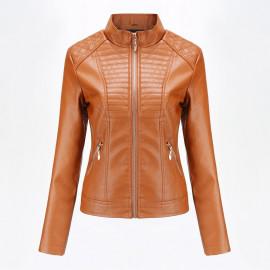 Коричневая кожаная куртка женская KR002-4