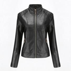 Черная кожаная куртка женская KR002