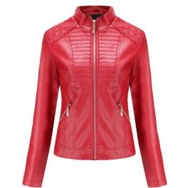 Красная кожаная куртка женская KR002-3
