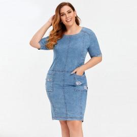 Джинсовое платье больших размеров MN55