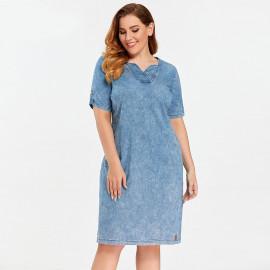 Джинсовое платье больших размеров MN52