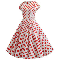 Белое платье в красный горох MN41-14