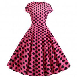 Розовое платье в черный горошек MN41-18