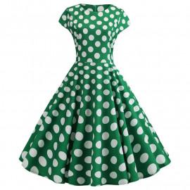 Зеленое платье в белый горошек MN41-15