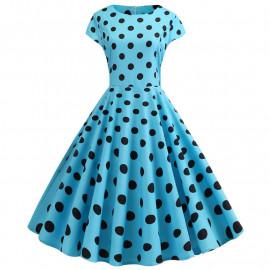 Голубое платье в черный горошек MN41-16