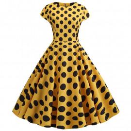 Платье желтое в черный горох MN41-17