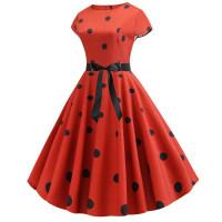 Красное платье в черный горошек MN41-11