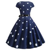 Темно-синее платье в белый горох MN41-8