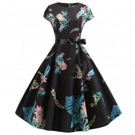 Черное летнее платье в цветочек MN41-13