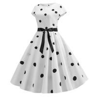 Летнее белое платье в черный горошек MN41
