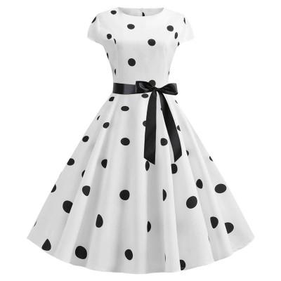 Летнее белое платье в черный горошек MN41, размер 42 - 50