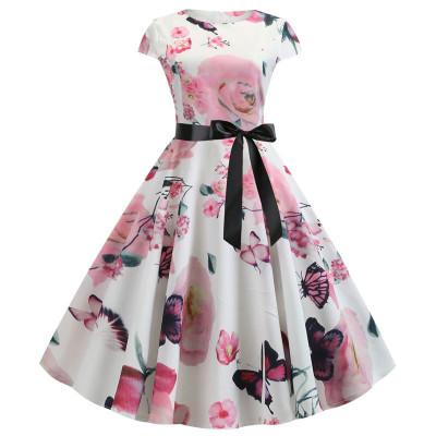 Бело-розовое летнее платье MN41-1, размер 42 - 50