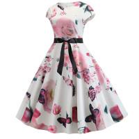 Бело-розовое летнее платье MN41-1