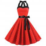 Летнее платье красное в белый горошек MN40-3