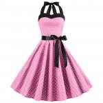 Розовое платье в мелкий горошек MN40-2