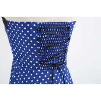 Темно-синее платье в мелкий горошек MN40