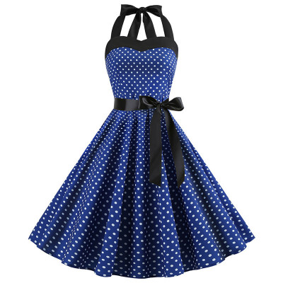 Темно-синее платье в мелкий горошек MN40, размер 42 - 50