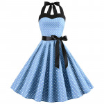 Голубое платье в мелкий горошек MN40-1