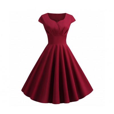 Бордовое платье ретро MN36, размер 42 - 50
