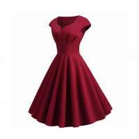 Бордовое платье ретро MN36