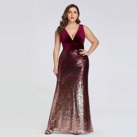 Платье с пайетками для полных женщин MN021-4