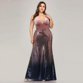 Нарядное платье с пайетками для полных MN021