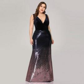 Длинное платье с пайетками для полных MN021-2