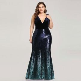 Вечернее платье большого размера с пайетками MN021-1