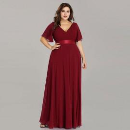 Длинное бордовое платье большого размера MN020-16