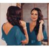 Вечернее длинное платье для полных женщин MN020-5, цвет сине-серый