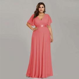 Нарядное шифоновое платье в пол большого размера MN020-12