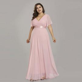 Розовое платье в пол для полных женщин MN020-11
