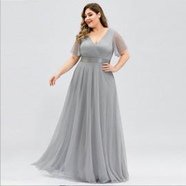 Серое платье в пол для полных женщин MN020-9