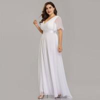 Белое вечернее платье в пол больших размеров MN020-8