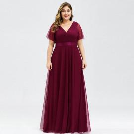 Длинное вечернее платье для полных дам MN020-7 бордовое