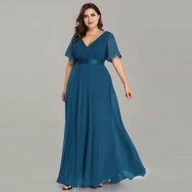 Платье в пол для полных женщин MN020-6 темно-голубое