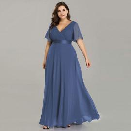 Вечернее длинное платье для полных женщин MN020-5 сине-серое
