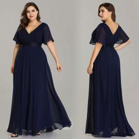 Вечернее платье в пол для пышных женщин MN020-4 темно-синее