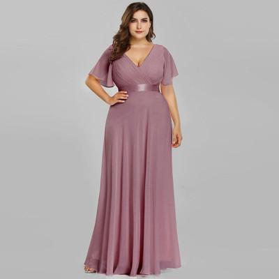 Вечернее платье в пол больших размеров MN020-3, цвет лиловый