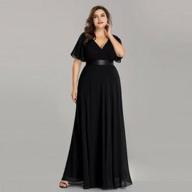 Длинное черное платье большого размера MN020-2