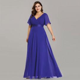 Синее платье в пол для полных женщин MN020-1