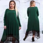 Зеленое вечернее платье для полных женщин MN019