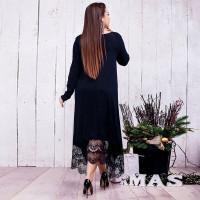 Вечернее черное платье большого размера MN019-1