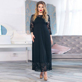 Черное платье большого размера с кружевом MN018