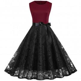 Летнее платье с кружевами для полных MN015-1