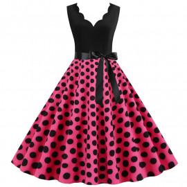 Платье с розовой юбкой в черный горох MN014-11
